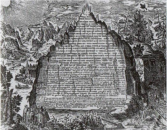 An artist's impression of the Emerald Tablet . Photo source: Wikimedia.
